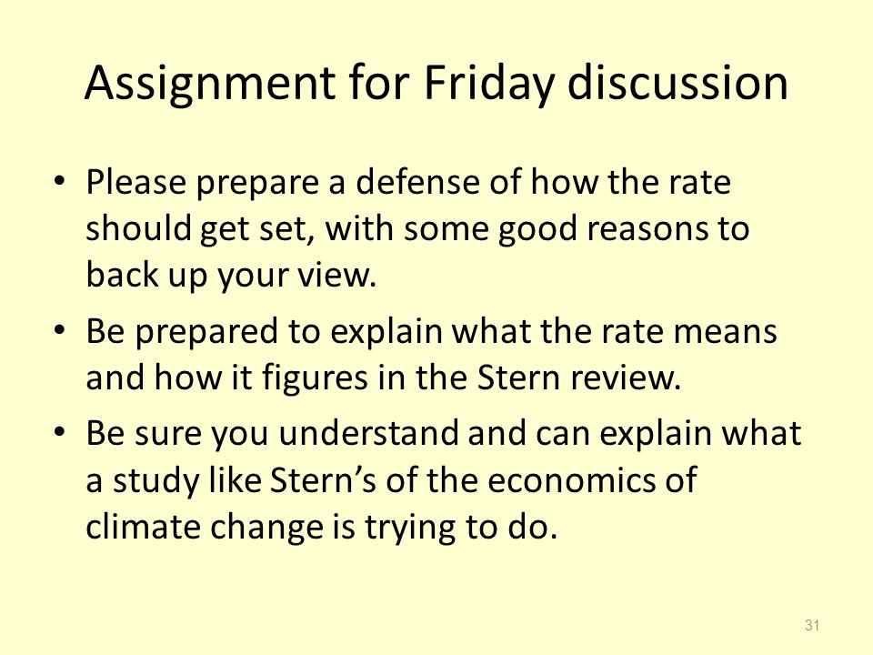 Assignment for Friday discussion