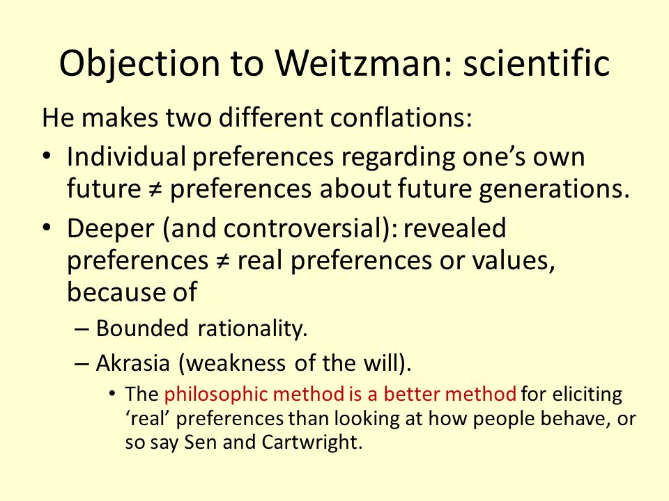 Objection to Weitzman: scientific