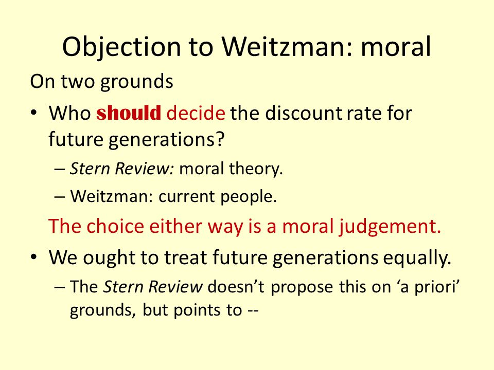 Objection to Weitzman: moral