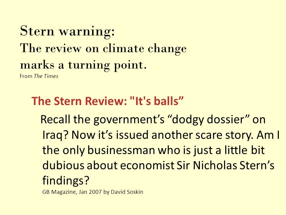 Stern warning: The review on climate change marks a turning point