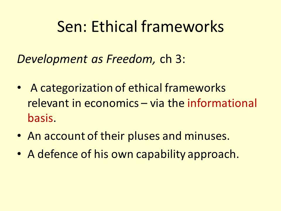 Sen: Ethical frameworks