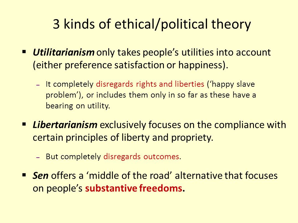 3 kinds of ethical/political theory