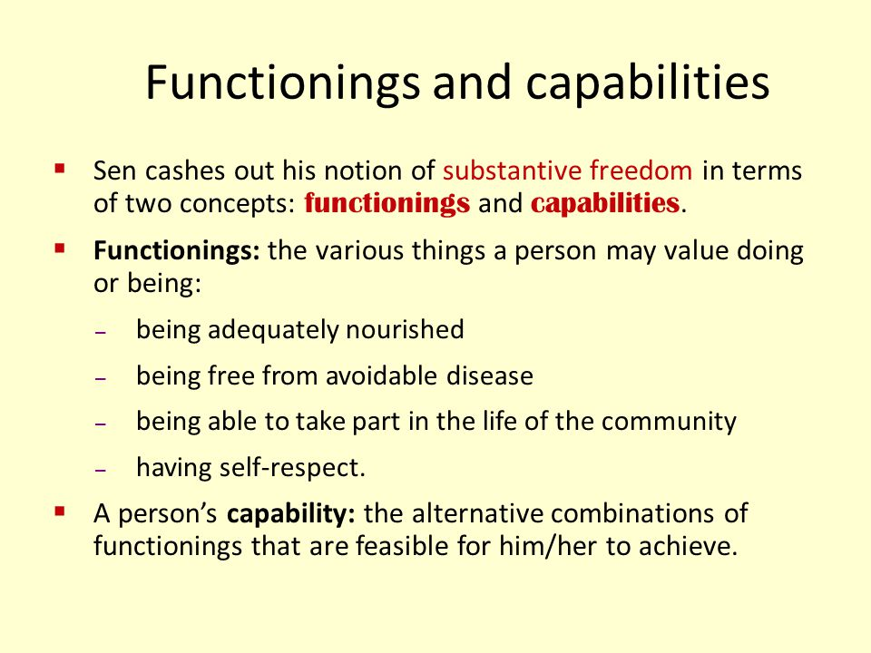 Functionings and capabilities