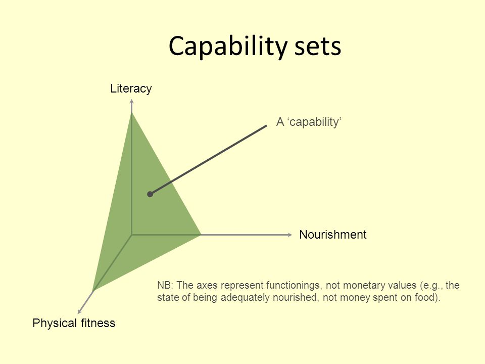 Capability sets Literacy A 'capability' Nourishment Physical fitness