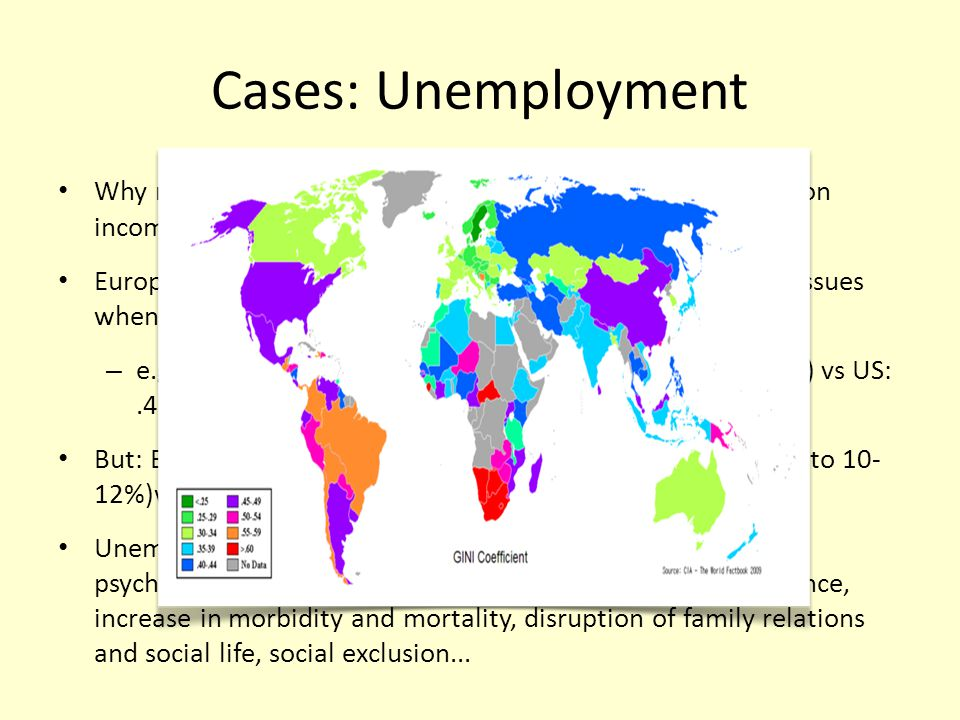 Cases: Unemployment Why measures of well-being should be broader based than on income: unemployment.