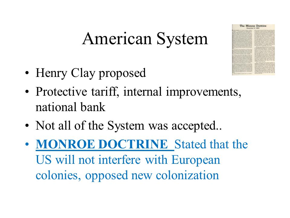 American System Henry Clay proposed