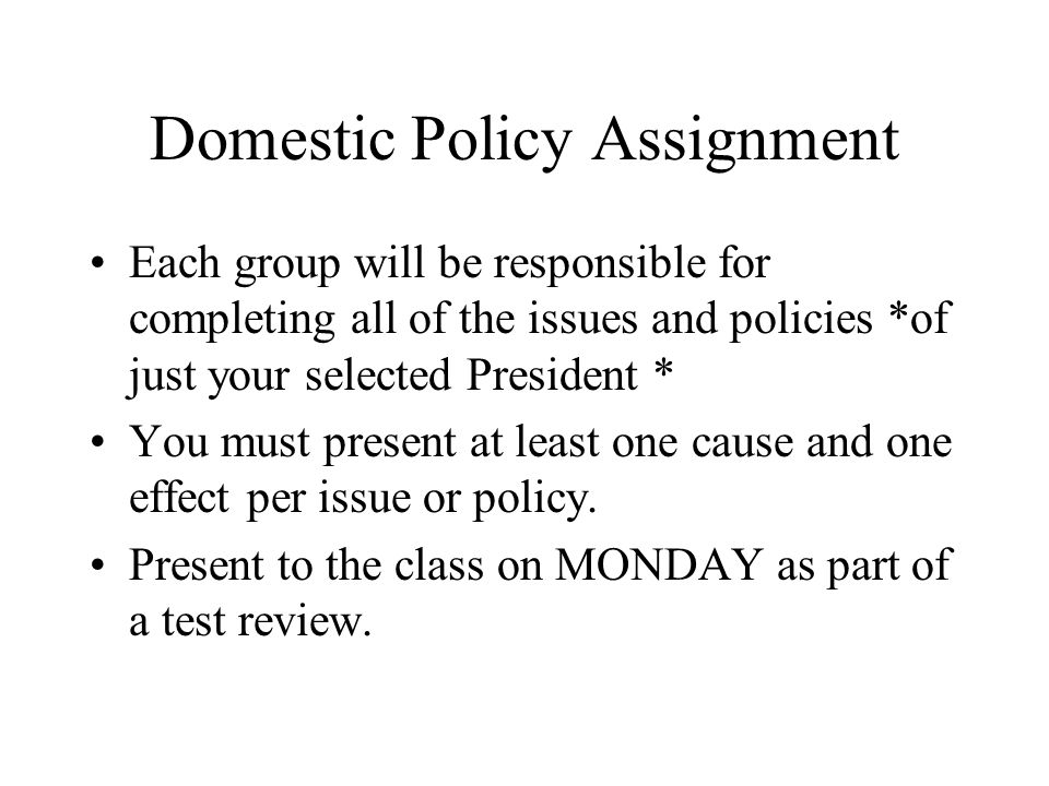 Domestic Policy Assignment