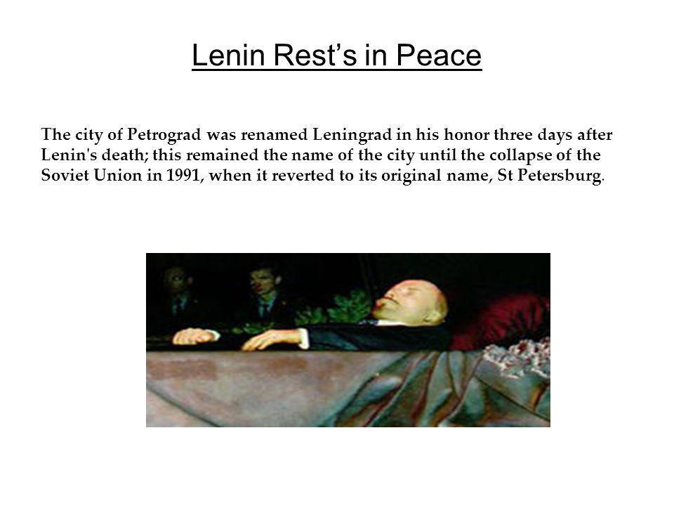 Lenin Rest's in Peace