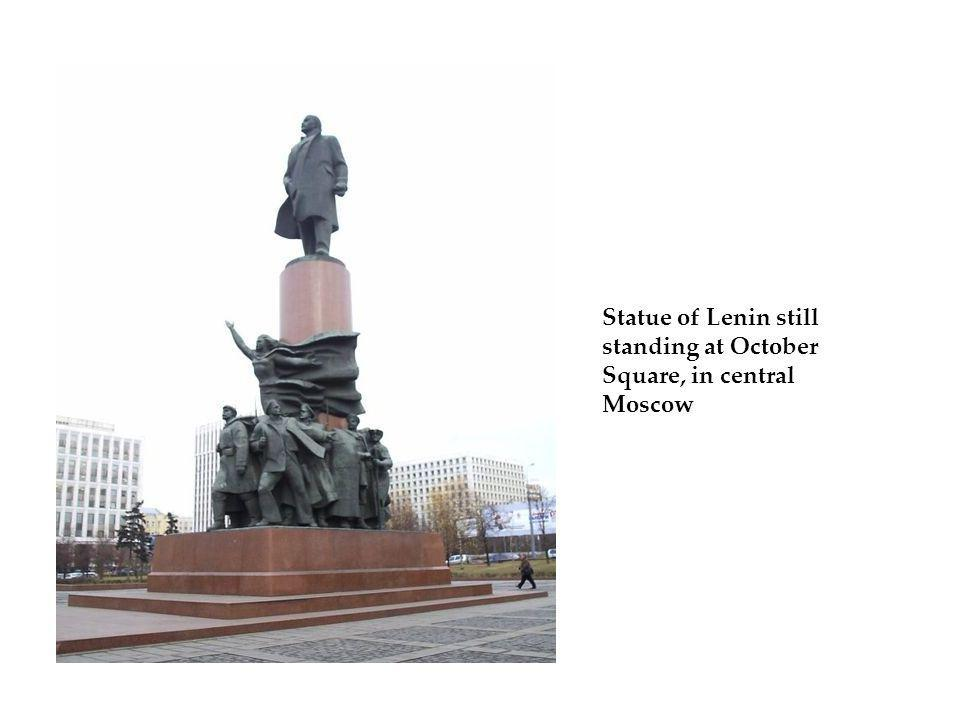 Statue of Lenin still standing at October Square, in central Moscow