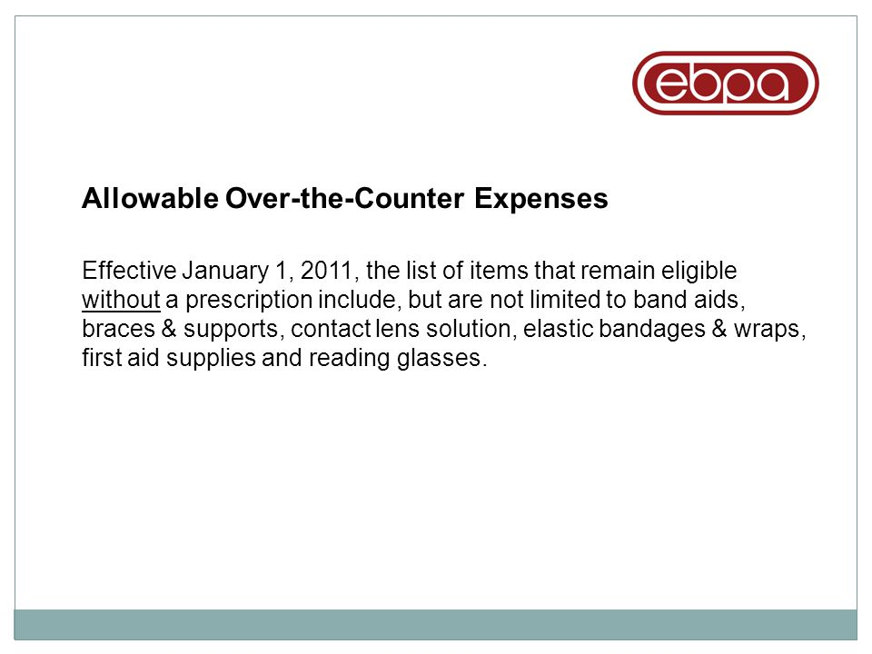 Allowable Over-the-Counter Expenses
