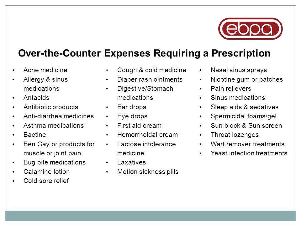 Over-the-Counter Expenses Requiring a Prescription