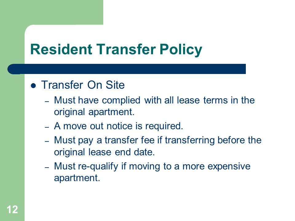 Resident Transfer Policy