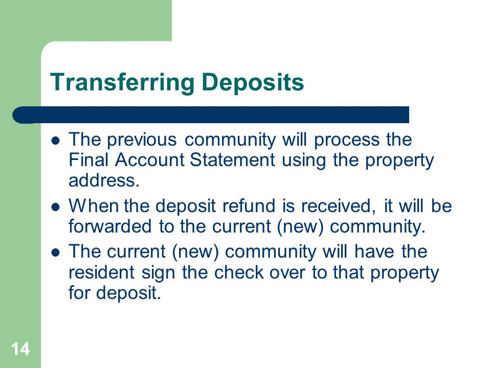 Transferring Deposits