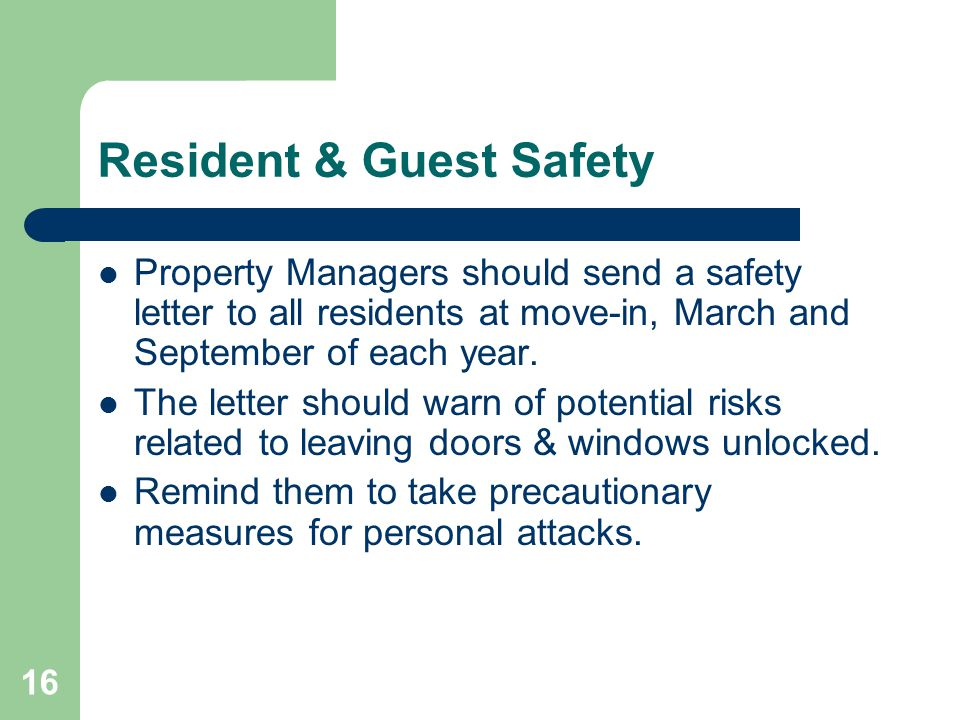 Resident & Guest Safety