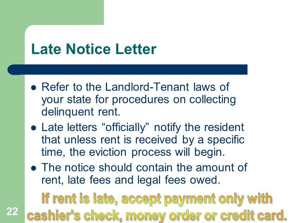 Late Notice Letter If rent is late, accept payment only with