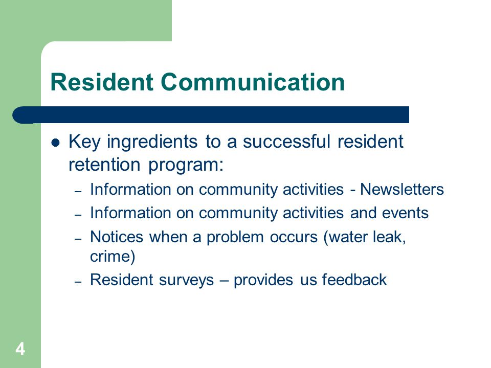 Resident Communication