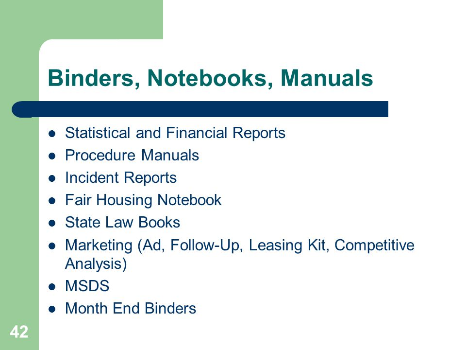Binders, Notebooks, Manuals