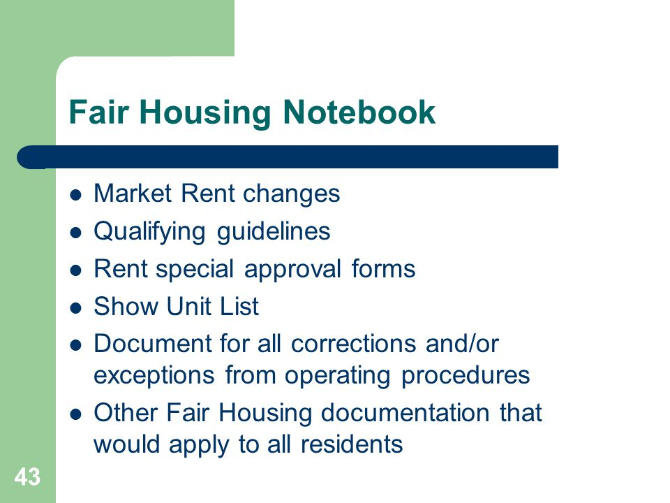 Fair Housing Notebook Market Rent changes Qualifying guidelines