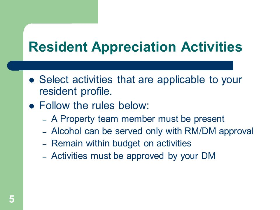 Resident Appreciation Activities