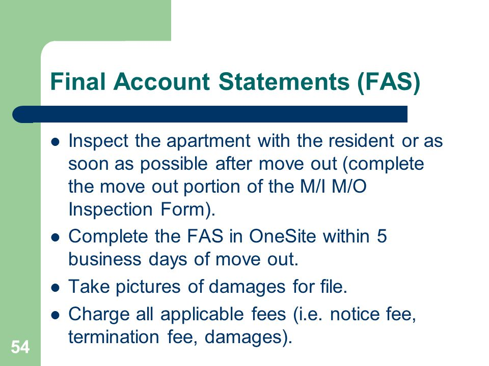 Final Account Statements (FAS)
