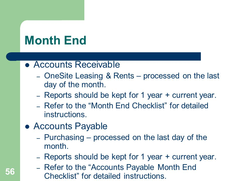 Month End Accounts Receivable Accounts Payable