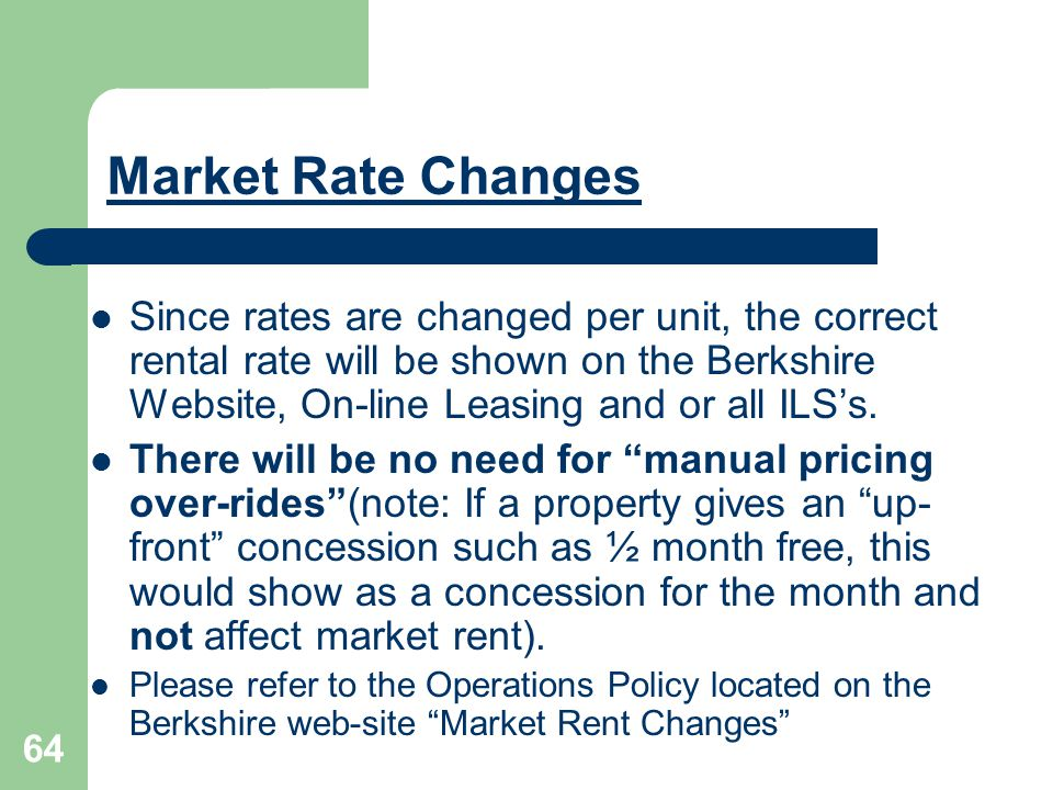 Market Rate Changes