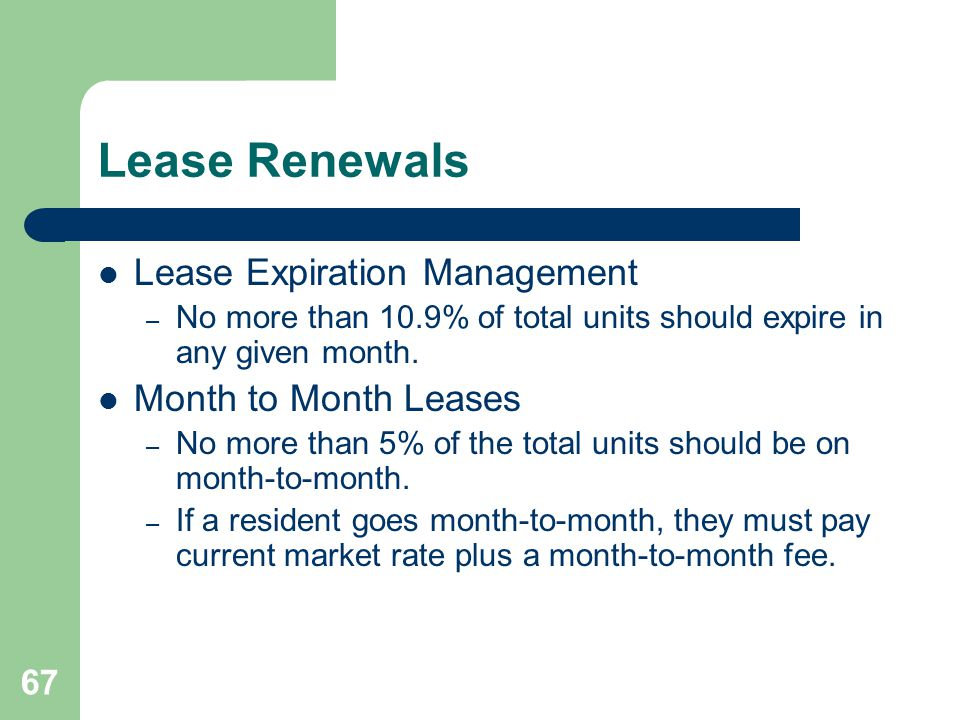 Lease Renewals Lease Expiration Management Month to Month Leases