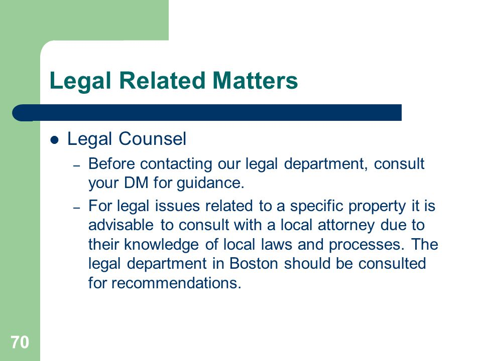 Legal Related Matters Legal Counsel