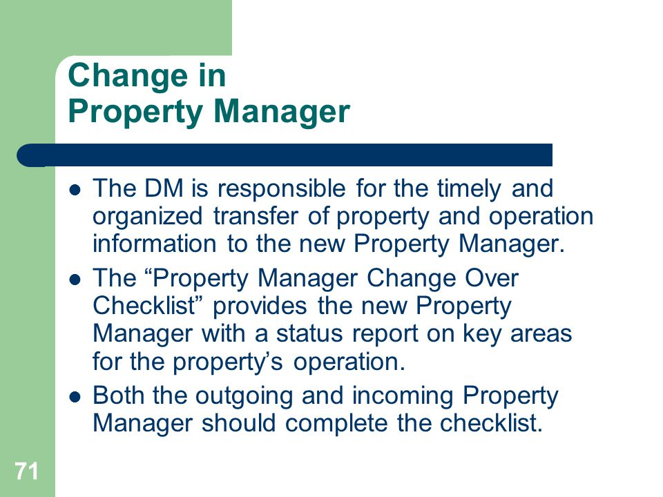 Change in Property Manager