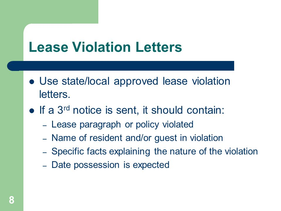 Lease Violation Letters
