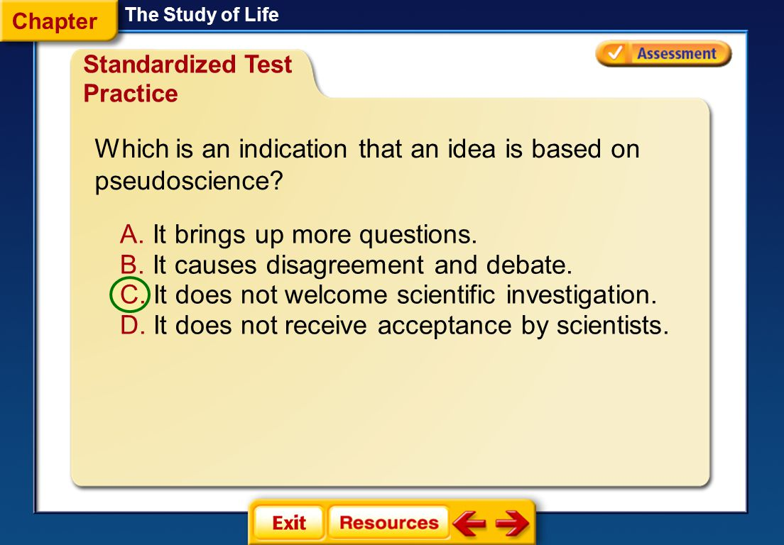 Which is an indication that an idea is based on pseudoscience