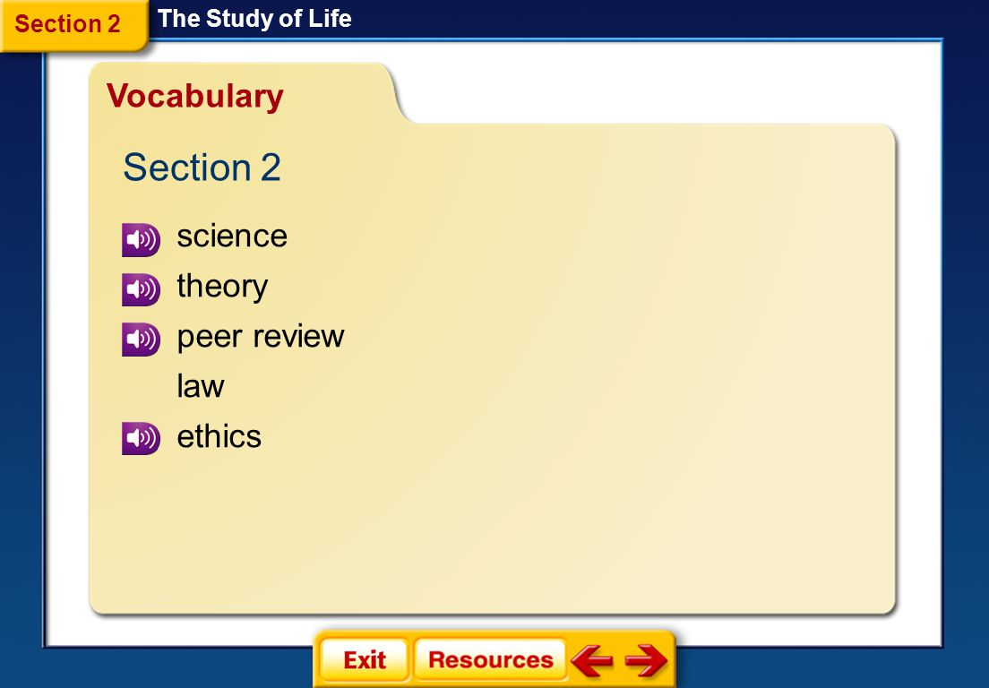 Section 2 Vocabulary science theory peer review law ethics