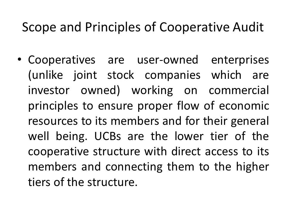 Scope and Principles of Cooperative Audit