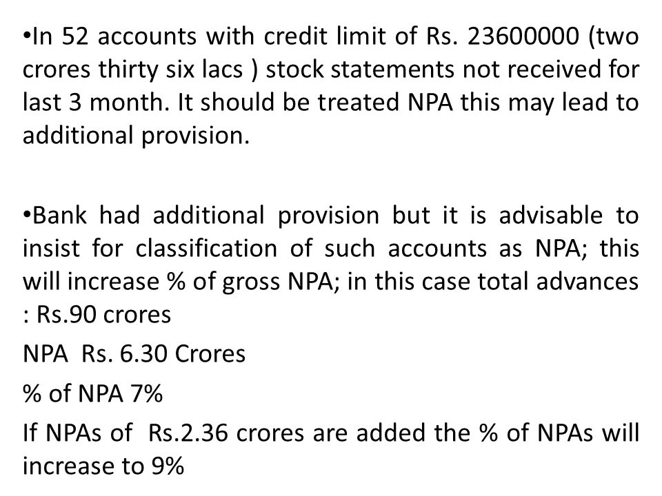 In 52 accounts with credit limit of Rs
