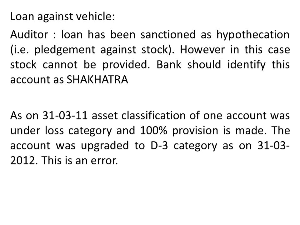 Loan against vehicle: