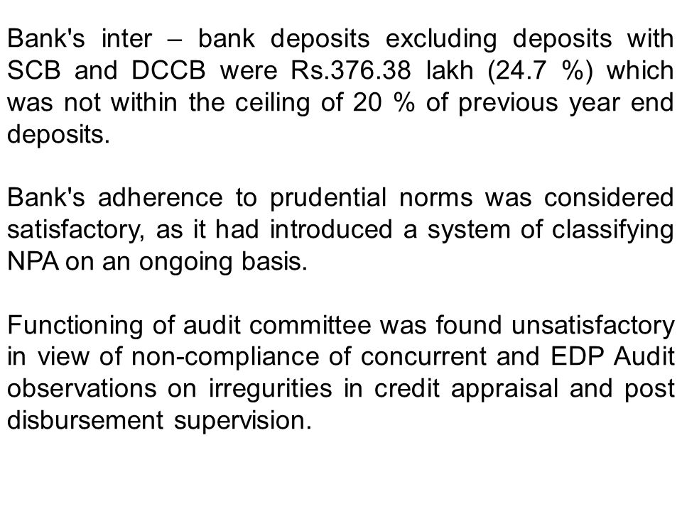 Bank s inter – bank deposits excluding deposits with SCB and DCCB were Rs.376.38 lakh (24.7 %) which was not within the ceiling of 20 % of previous year end deposits.