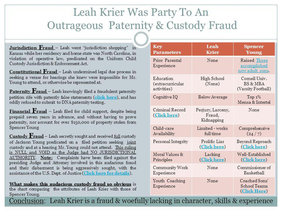 Leah Krier Was Party To An Outrageous Paternity & Custody Fraud