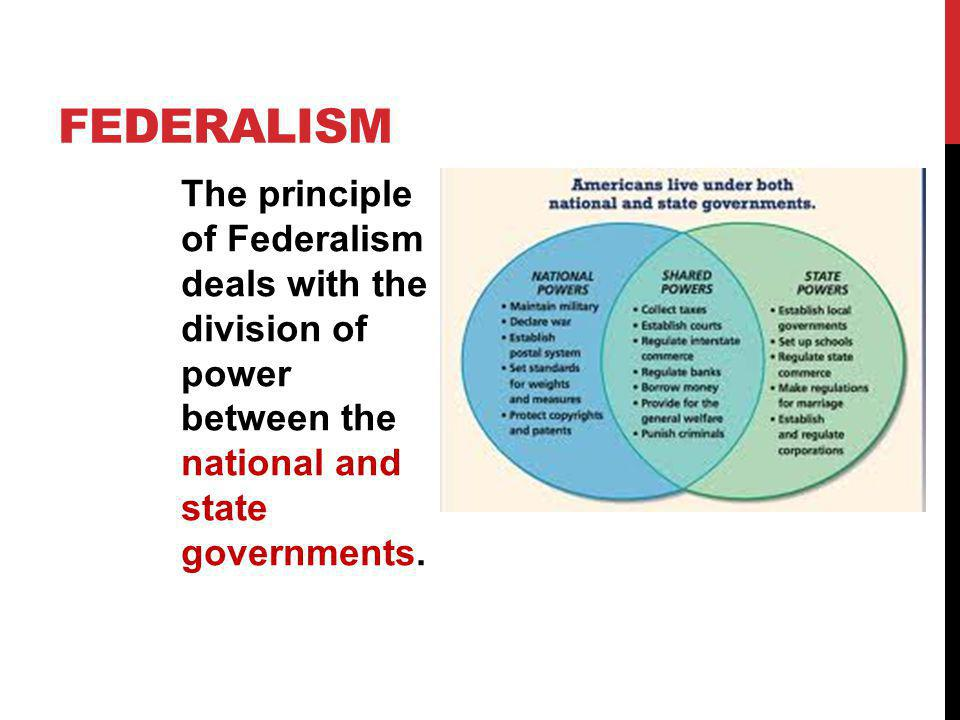 Federalism The principle of Federalism deals with the division of power between the national and state governments.