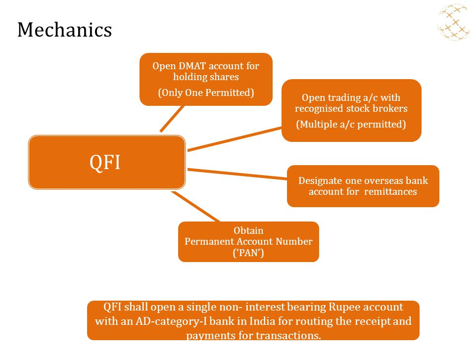 Mechanics Open DMAT account for holding shares. (Only One Permitted) Open trading a/c with recognised stock brokers.