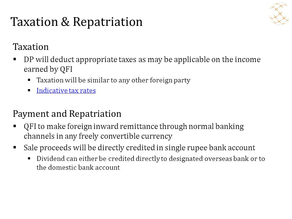 Taxation & Repatriation