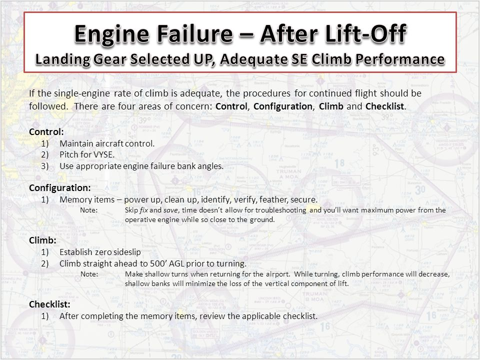 Engine Failure – After Lift-Off Landing Gear Selected UP, Adequate SE Climb Performance