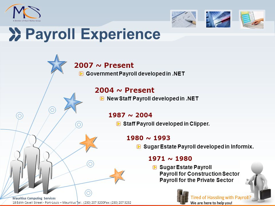Payroll Experience 2007 ~ Present 2004 ~ Present 1987 ~ 2004