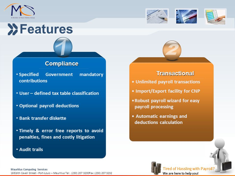 Features 1 2 Compliance Transactional