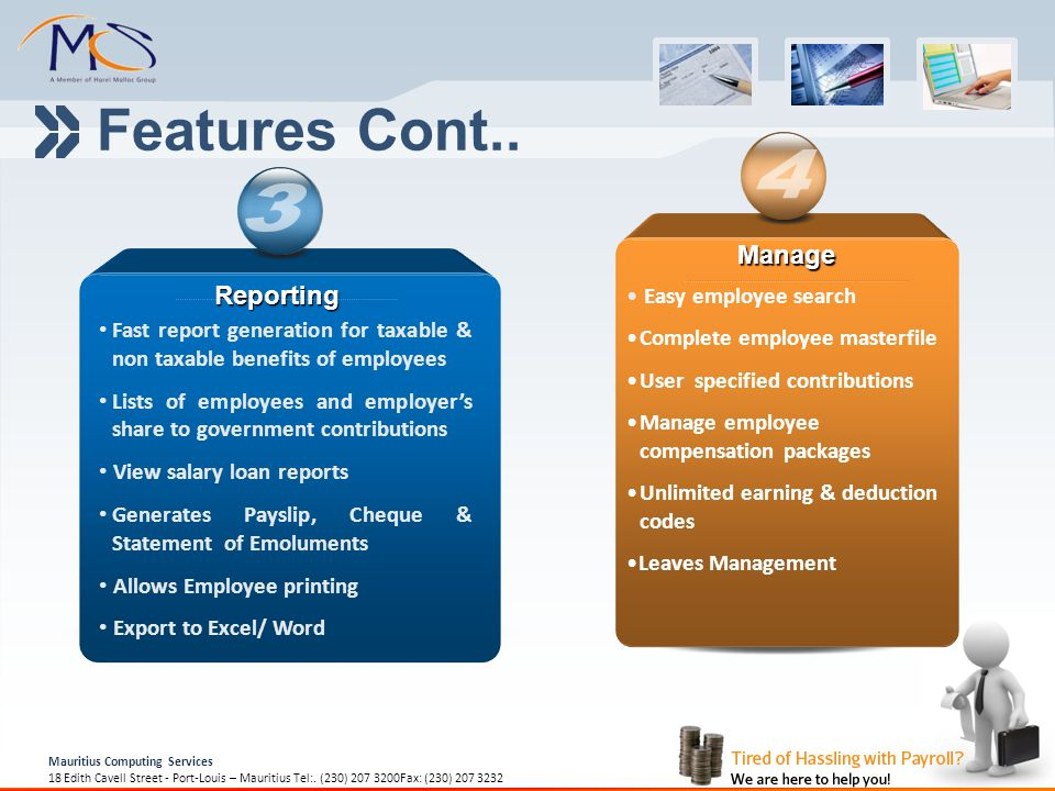 Features Cont.. 4 3 Manage Reporting Easy employee search