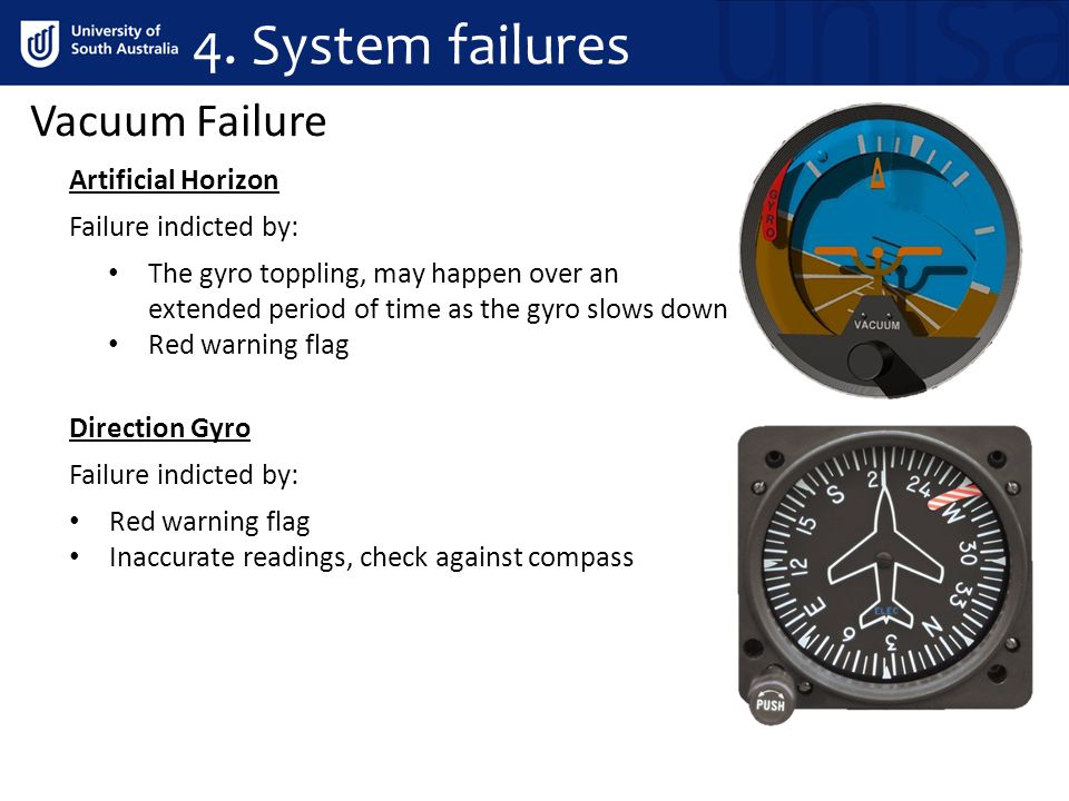 4. System failures Vacuum Failure Artificial Horizon