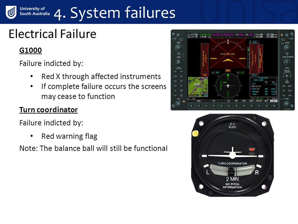 4. System failures Electrical Failure G1000 Failure indicted by: