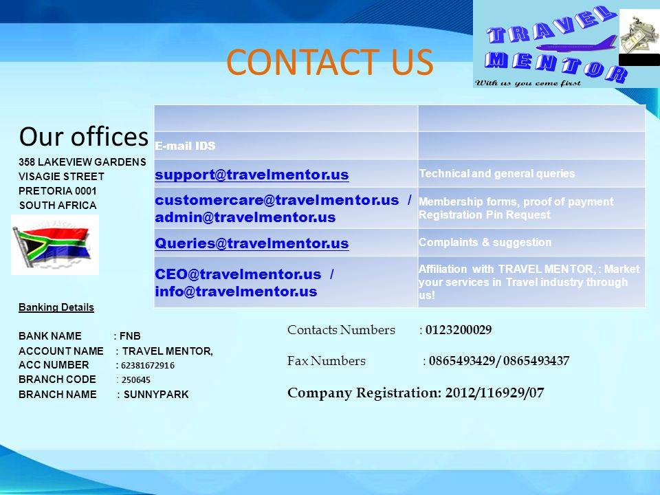 CONTACT US Our offices support@travelmentor.us