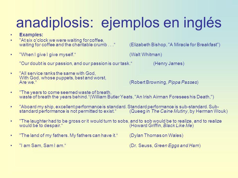 anadiplosis: ejemplos en inglés