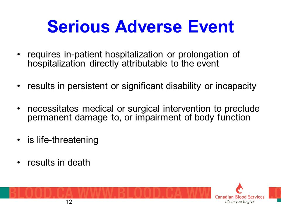 Serious Adverse Event requires in-patient hospitalization or prolongation of hospitalization directly attributable to the event.
