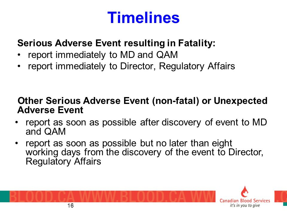 Timelines Serious Adverse Event resulting in Fatality:
